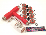 Red Full Skateboard Kit 8 ABEC 9 Bearings Hardware Multi-Tool Spacers and Lube