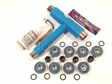Blue Full Skateboard Kit 8 ABEC 9 Bearings Hardware Multi-Tool Spacers and Lube